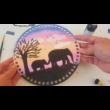 WSC stencil - Elefánt mama csemetéjével