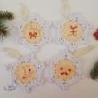 4 db-os karácsonyi horgolható fa alap készlet - Wood Stitch Collection