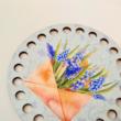 Fürtös gyöngyike - kör 10 cm-es horgolható faalap