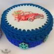 Karácsonyi furgon - 15 cm-es horgolható faalap - Wood Stitch Collection