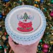Karácsonyi hógömb - 15 cm kör horgolható faalap
