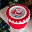 Ho-ho-ho, itt a Mikulás - 10 cm kör horgolható faalap