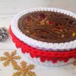 Karácsonyi csodaszarvas - 20 cm kör horgolható fa alap