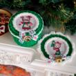Egér mama karácsonya - 10 cm kör horgolható faalap