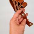 Patentos bőr táskapánt párban - Őzbarna - 65 cm