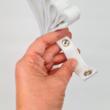 Patentos bőr kézi táskafogó párban - Fehér - 30 cm
