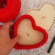 Szív 15 cm-es horgolható faalap - Wood Stitch Collection