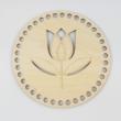Tulipán - Kör 15 cm-es horgolható faalap