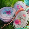 virágcsokor vintage vödörben - 15 cm kör - Vidéki romantika sorozat