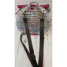 Csokibarna bőr hátizsákpánt antikolt színű szerelékkel