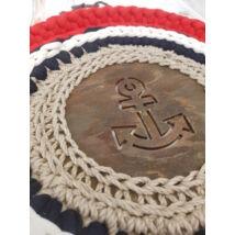 Horgony mintás kör 15 cm-es horgolható fa alap - Wood Stitch Collection