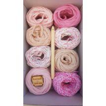 Rózsaszín árnyalatok - Bon-bon pólófonal válogatás horgolótűvel