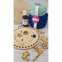 Kékséges kalóz doboz készítő szett - Wood Stitch Collection