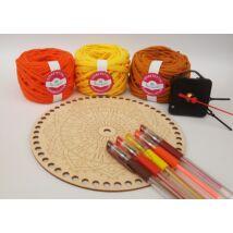ÉNIDŐ horgolt mandala óra készítő csomag - TŰZ - Wood Stitch Collection