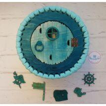 Türkiz színű kalóz doboz készítő szett - Wood Stitch Collection