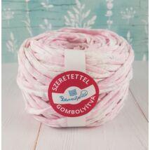Pasztell rózsaszín  pólófonal apró szürke virágokkal - vászon anyagú