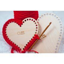 Szív 20 cm-es horgolható fa alap - Wood Stitch Collection