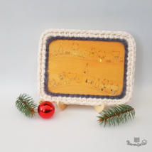 Karácsonyi falu - 15x20 cm-es horgolható fa alap - Wood Stitch Collection