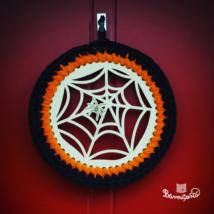 Pókhálós kopogtató 20 cm-es horgolható falap - Wood Stitch Collection
