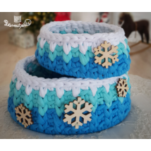 Varázslatos hópelyhek - horgolt kosár készítő csomag - Wood Stitch Collection