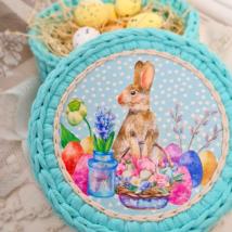 Nyuszi húsvéti készülődése - Pöttyös sorozat - kör 15 cm