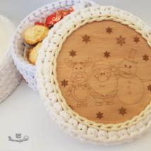 Mikulás és barátai 15 cm-es horgolható fa alap - Wood Stitch Collection
