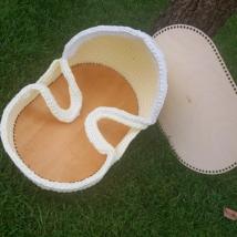 Mózeskosár horgolható fa alap nagy méretű játékbabához  - Wood Stitch Collection