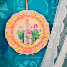 Nyuszi virágoskertje - Pöttyös sorozat - 20 cm kör