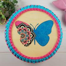 Pillangó - 20 cm-es kör alakú horgolható fa alap - Wood Stitch Collection