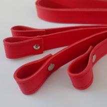 Csavaros bőr táskapánt párban - Piros
