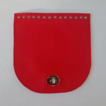 Íves bőr táskafedél - Piros