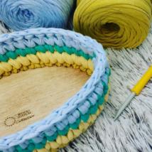Ovális 25 cm-es horgolható fa alap - Wood Stitch Collection