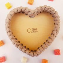 ÚJ! Szív 15 cm-es horgolható fa alap - Wood Stitch Collection