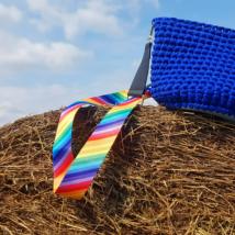Szivárványos textil táskapánt