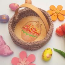 Húsvéti tojások kosárban - kör 20 cm horgolható faalap