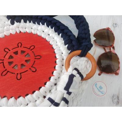 Hajókormány mintás kör 15 cm-es horgolható fa alap - Wood Stitch Collection