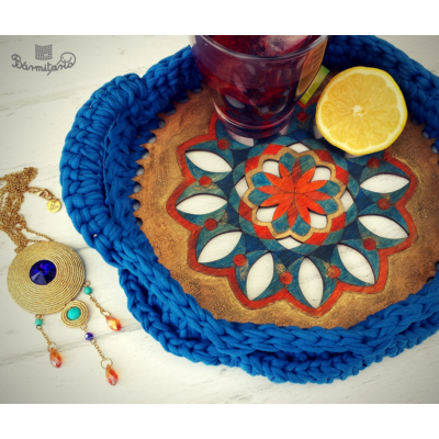 Mandala áttört mintás 20 cm-es horgolható fa alap - Wood Stitch Collection