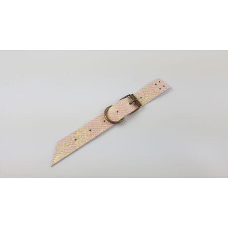 Bőr varrható táskacsat - Rózsaszín-arany kígyómintás
