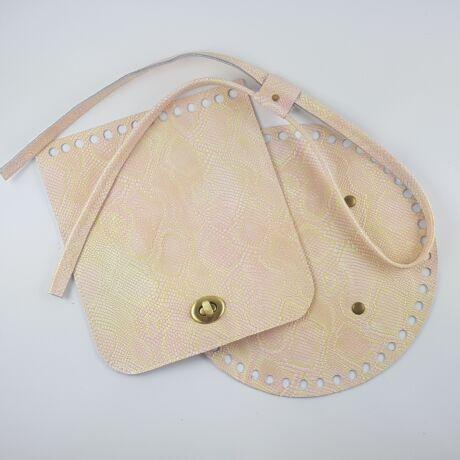 Bőr hátizsák szett - rózsaszín-arany kígyó mintás