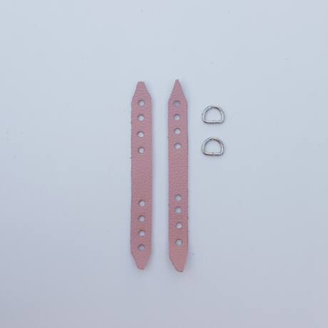 Bőr varrható/horgolható pánttartó szett - Őszi rózsaszín