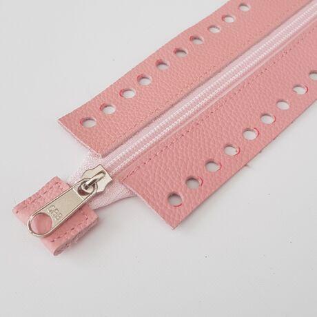 Horgolható rövid bőr cipzár - Rózsaszín