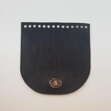 Íves bőr táskafedél - Fekete