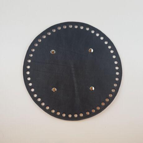 Kerek bőr táskaalj - Fekete