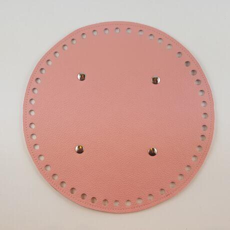 Kerek bőr táskaalj - Rózsaszín