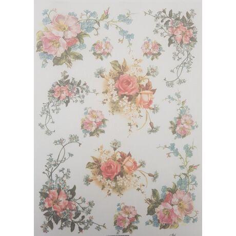 Rizspapír - Rózsa nefelejccsel