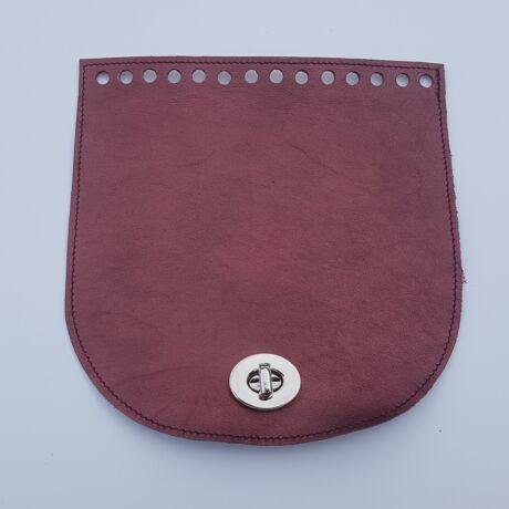 Íves bőr táskafedél - Bronz bordó