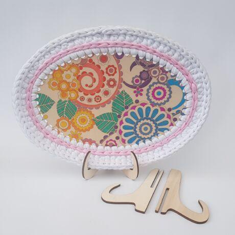 Asztali állvány horgolt képekhez