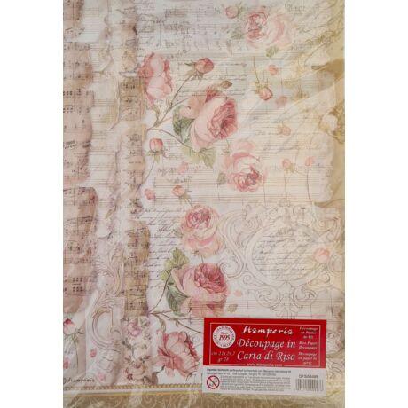 Rizspapír - Vintage rózsák kottával