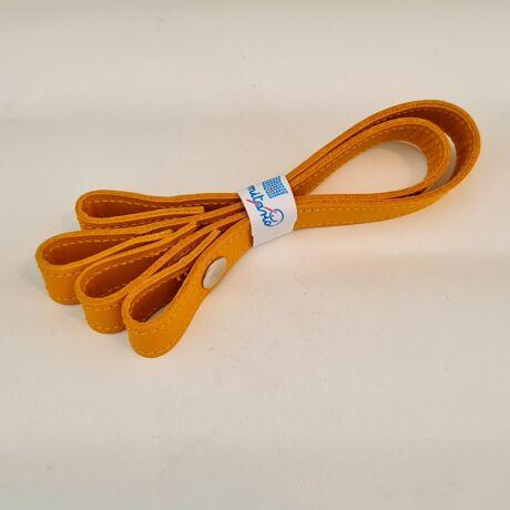 Patentos bőr kézi táskafogó párban - Őszi sárga - 30 cm