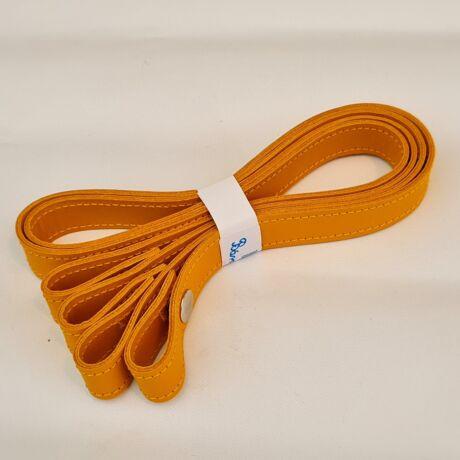 Patentos bőr táskapánt párban - Őszi sárga - 65 cm